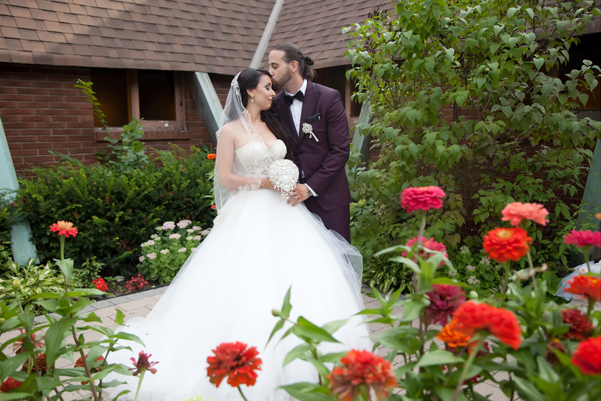 bride and groom at All Saints Greek Orthodox Church