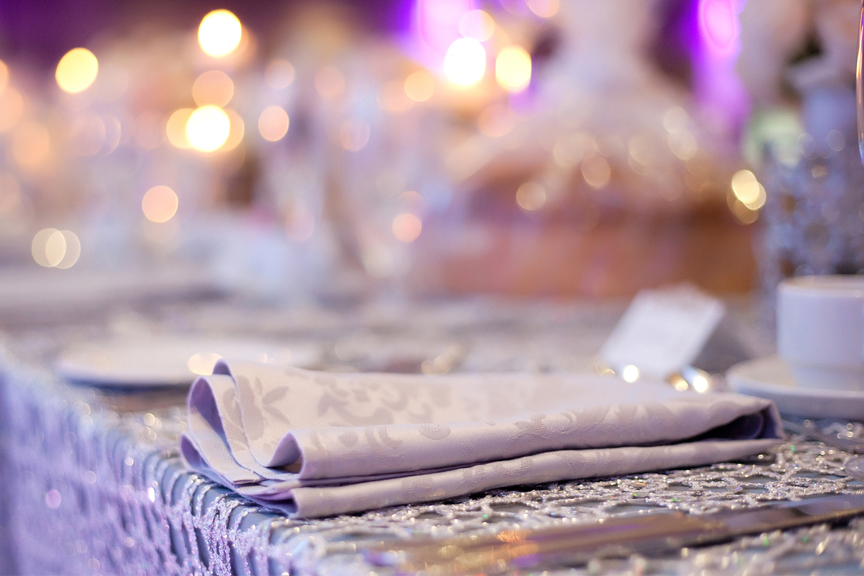 place setting decor wedding reception at Crystal Fountain