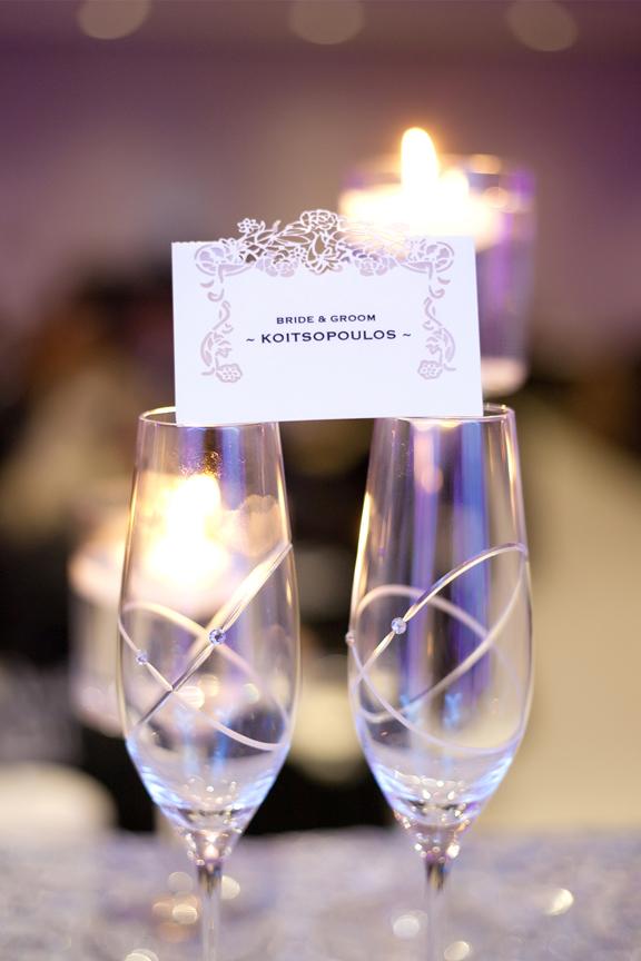name cards decor wedding reception at Crystal Fountain