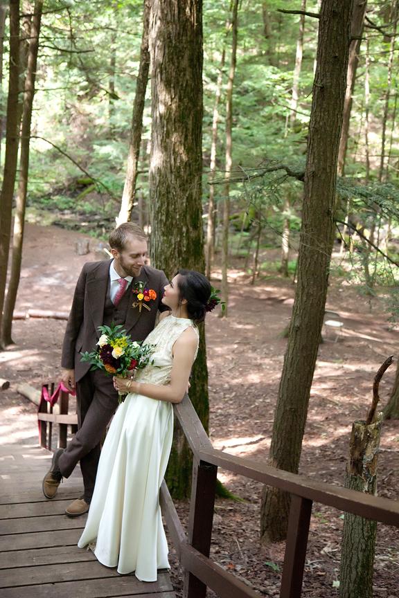 bride and groom portrait at Ganaraska Forest Centre