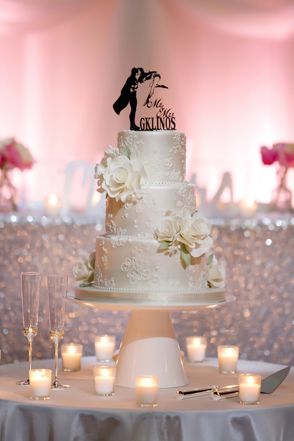 cake decor Greek and Albanian wedding reception at Grand Luxe Event Boutique