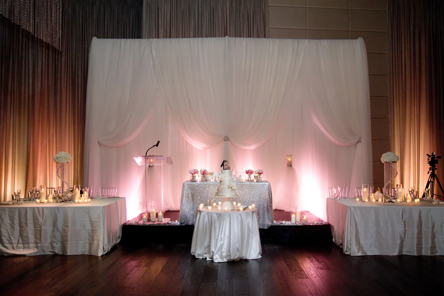 head table decor Greek and Albanian wedding reception at Grand Luxe Event Boutique