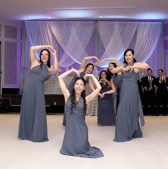 bridesmaids entrance wedding reception at Crystal Fountain