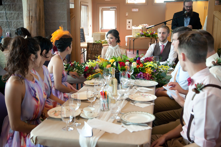 head table wedding reception at Ganaraska Forest Centre