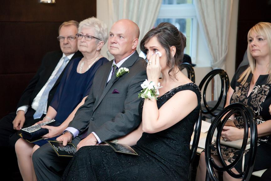 crying mom Jewish wedding ceremony at Eglinton Grand