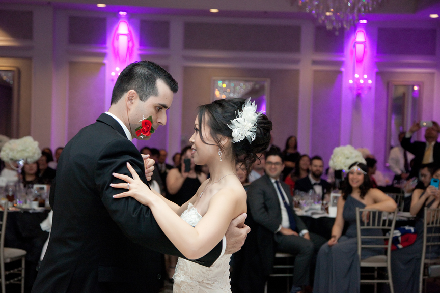 couple's first dance wedding reception at Crystal Fountain
