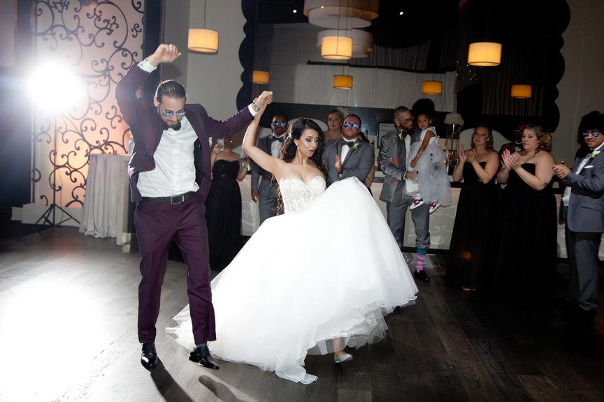 couple's grand entrance Greek and Albanian wedding reception at Grand Luxe Event Boutique