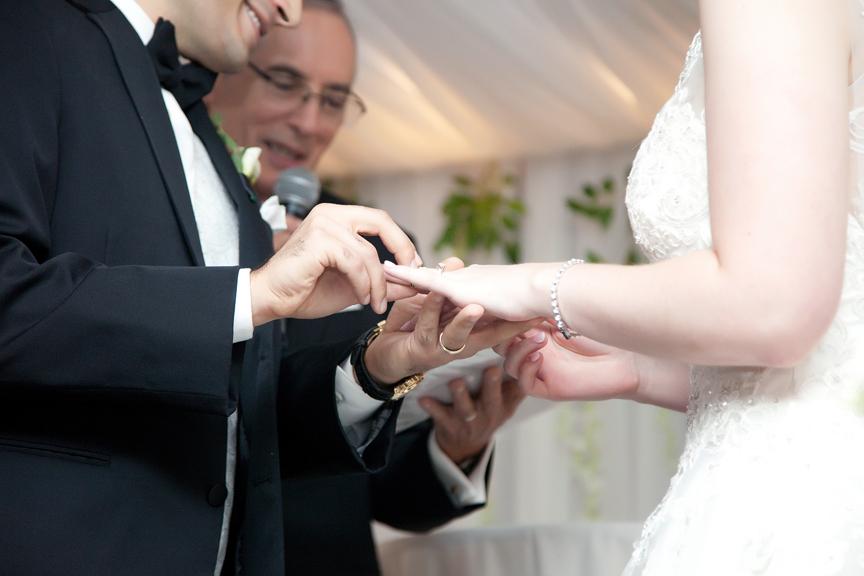 ring exchange Jewish wedding ceremony at Eglinton Grand