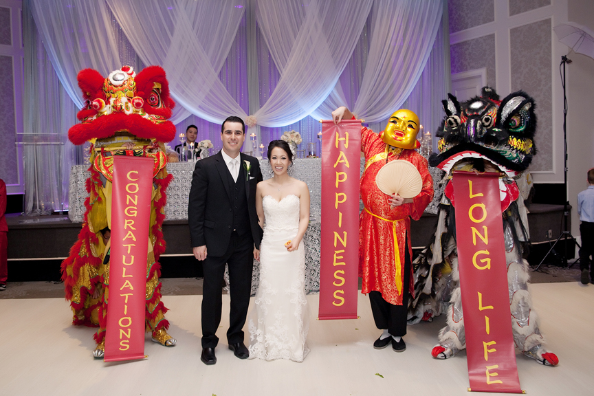 Dragon dance Chinese wedding reception at Crystal Fountain