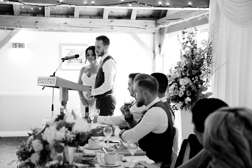 couple's speech wedding reception