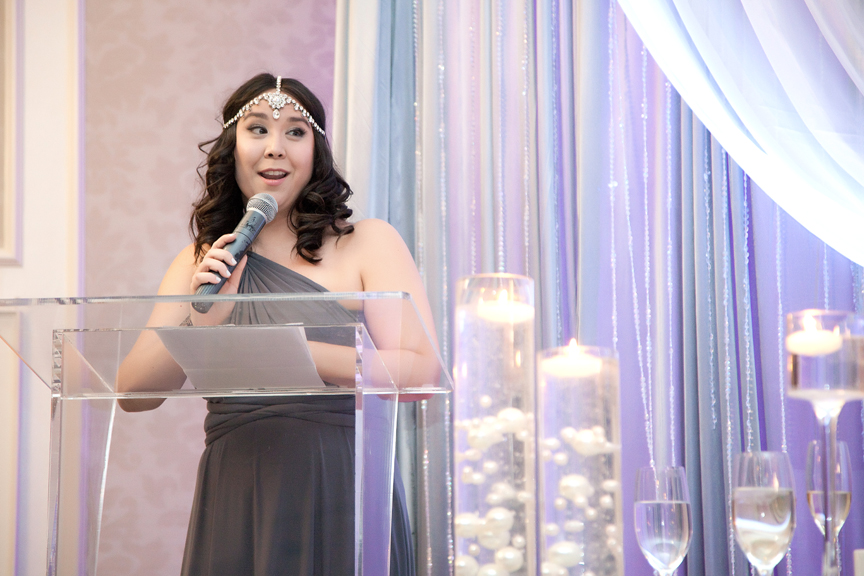 maid of honour speech wedding reception at Crystal Fountain