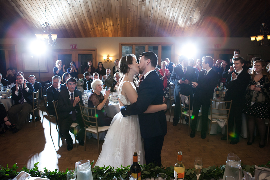 kissing game wedding reception at Waterstone Estate and Farms