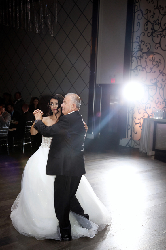 father daughter dance Greek and Albanian wedding reception at Grand Luxe Event Boutique
