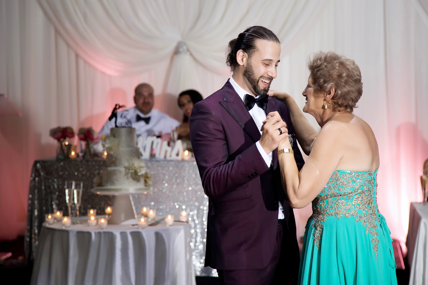 mother son dance Greek and Albanian wedding reception at Grand Luxe Event Boutique