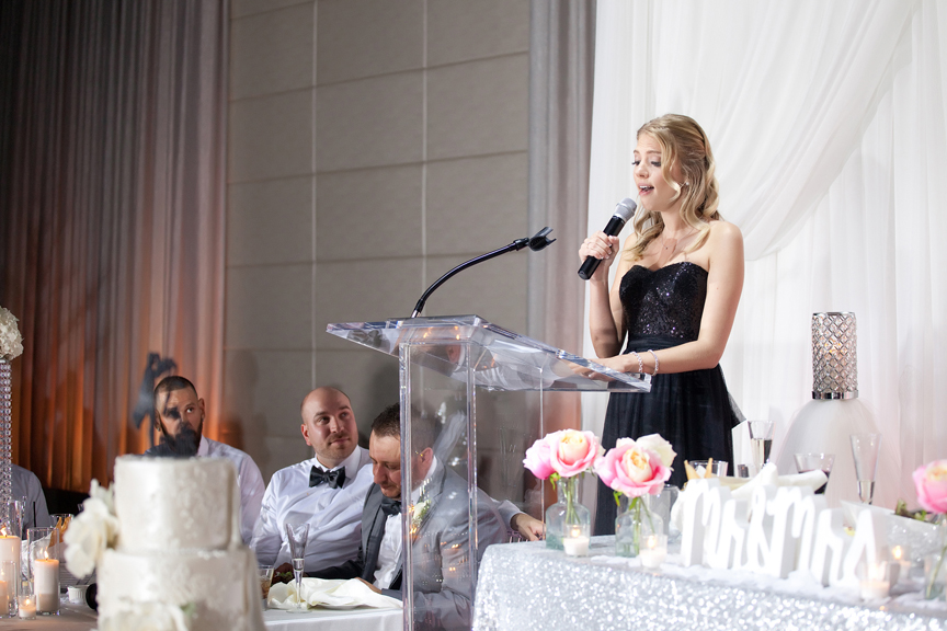 bridesmaid speech Greek and Albanian wedding reception at Grand Luxe Event Boutique