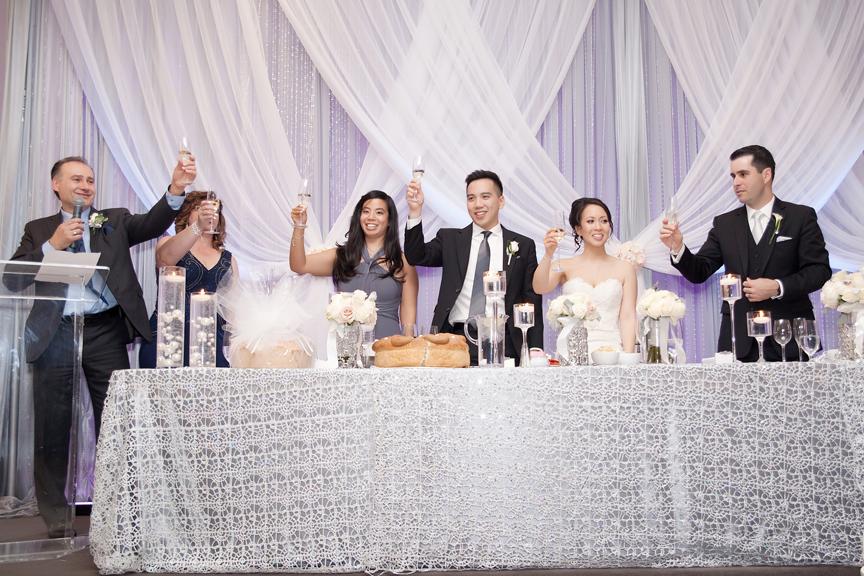 toasts wedding reception at Crystal Fountain