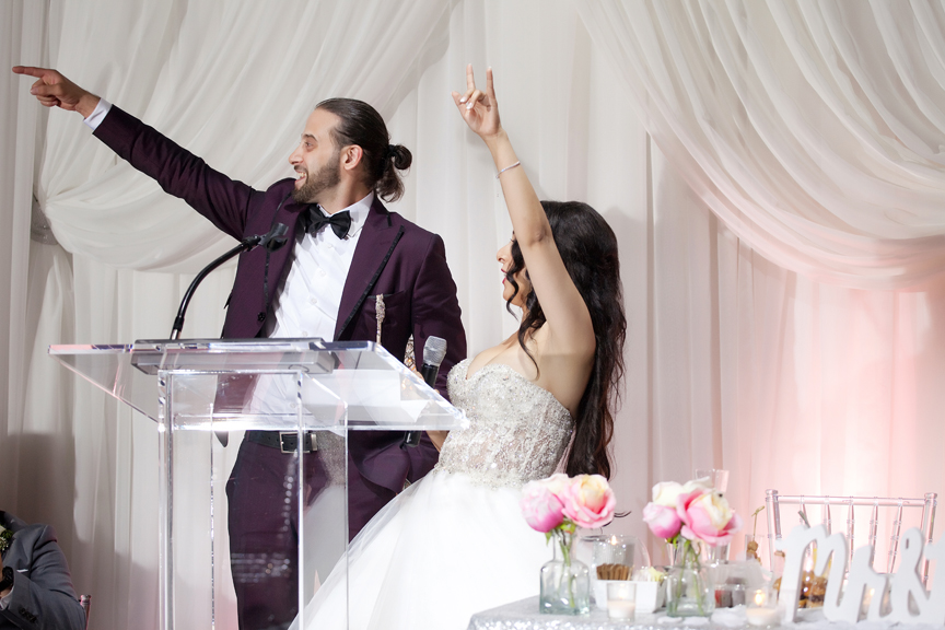 couple speech Greek and Albanian wedding reception at Grand Luxe Event Boutique