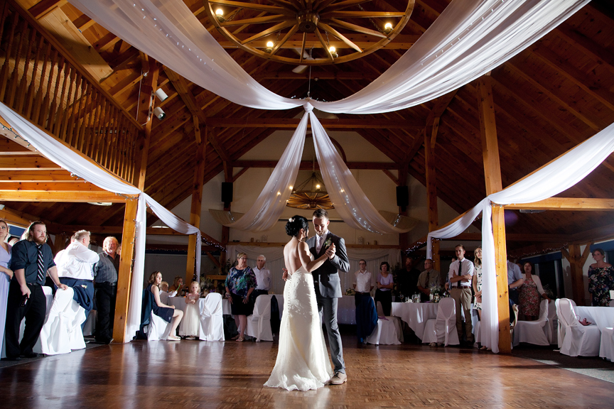 couple's first dance wedding reception at Trillium Trails Banquet Centre
