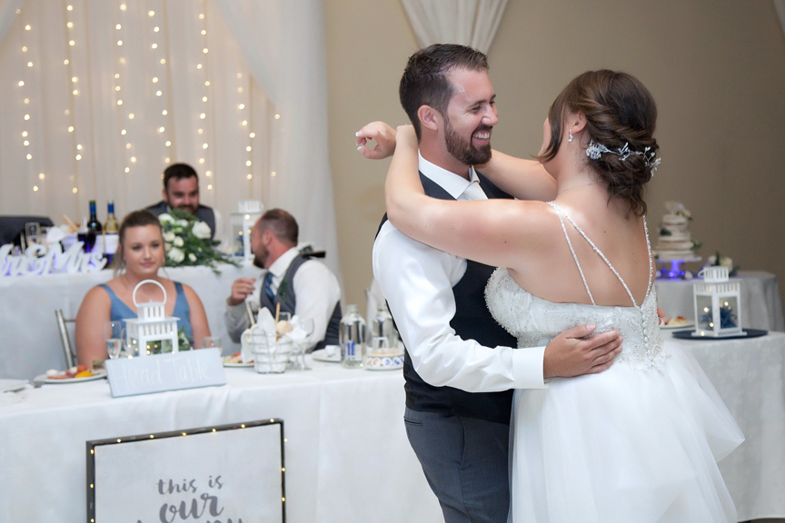 couple's first dance wedding reception at Paradise Banquet Hall