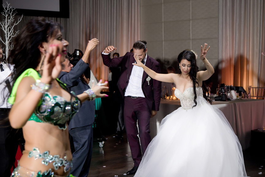 bride and groom dancing Greek and Albanian wedding reception at Grand Luxe Event Boutique