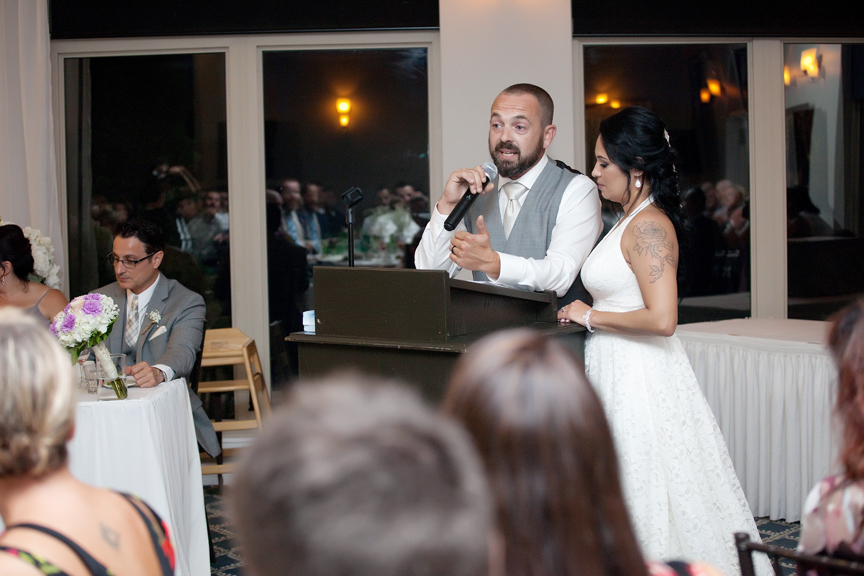 couple's speech wedding reception at Tangle Creek Golf and Country Club