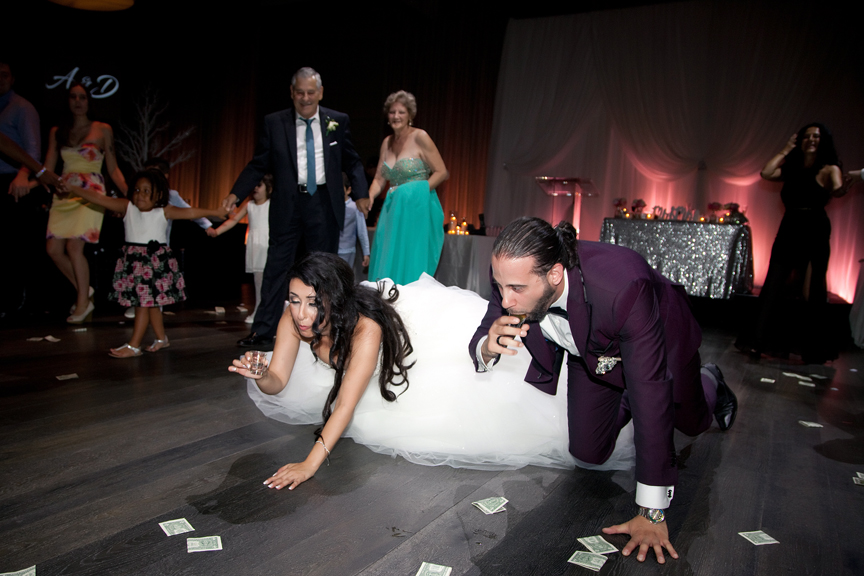 bride and groom drinking Greek and Albanian wedding reception at Grand Luxe Event Boutique