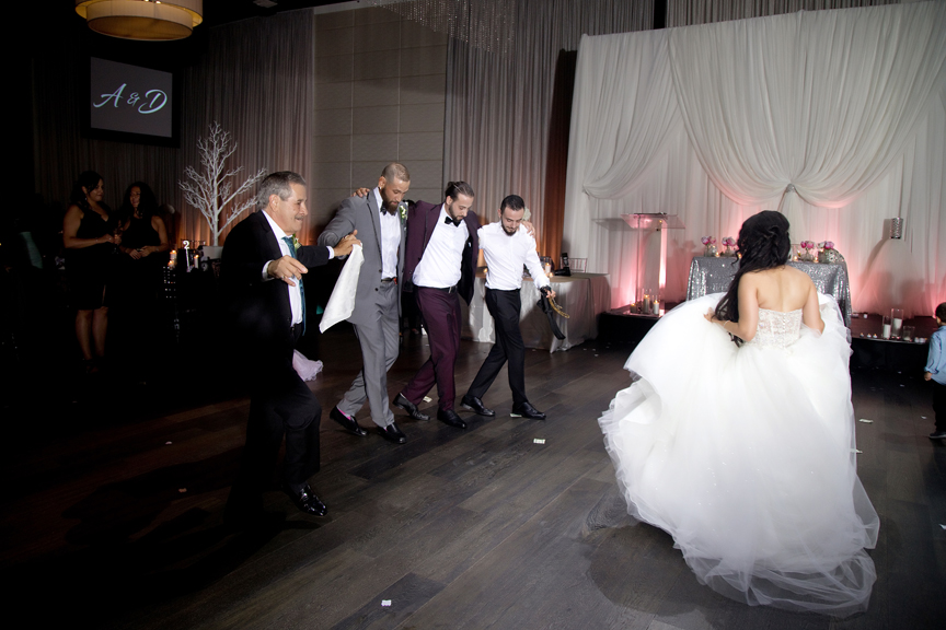 bride dancing Greek and Albanian wedding reception at Grand Luxe Event Boutique