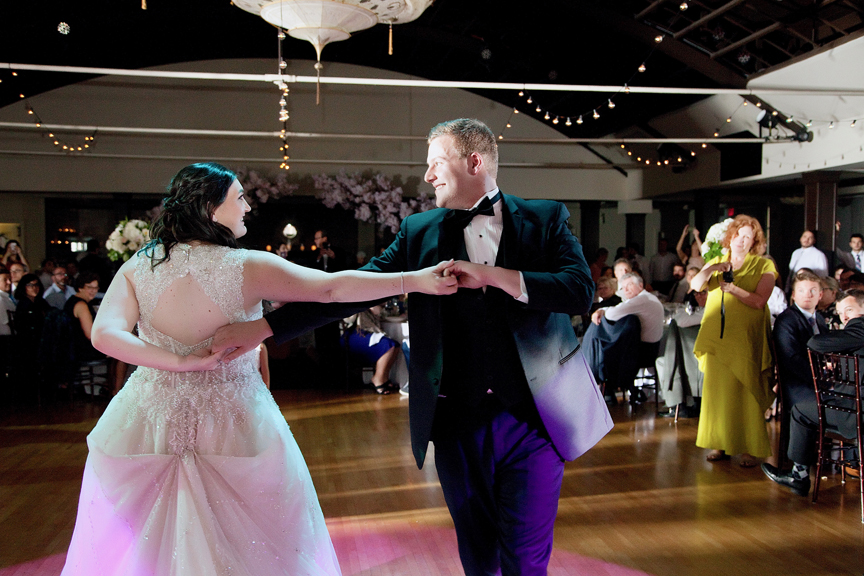 couple's first dance Wedding reception at Palais Royale