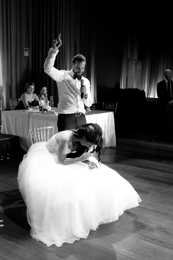 groom dancing for bride Greek and Albanian wedding reception at Grand Luxe Event Boutique