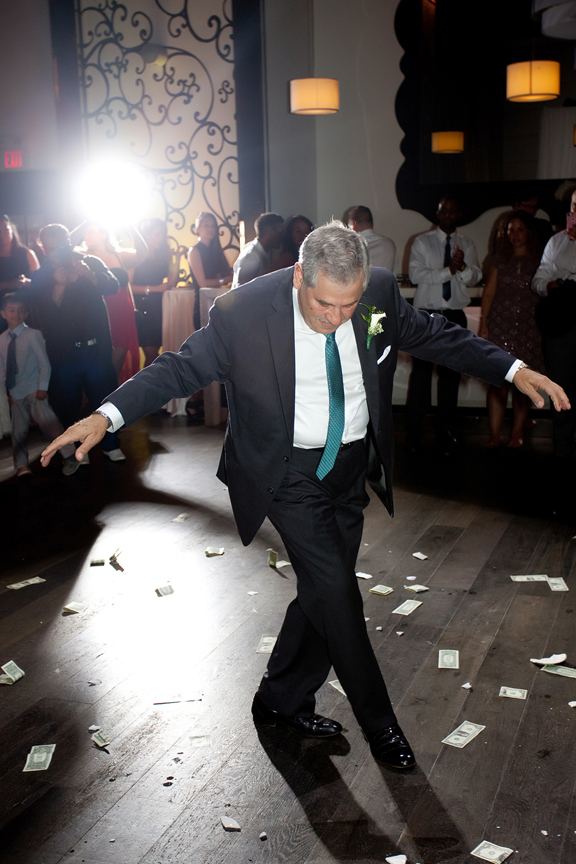 father dancing Greek and Albanian wedding reception at Grand Luxe Event Boutique