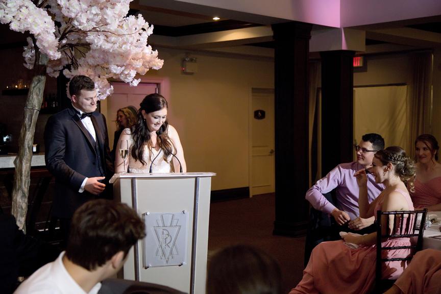 couple's speech Wedding reception at Palais Royale