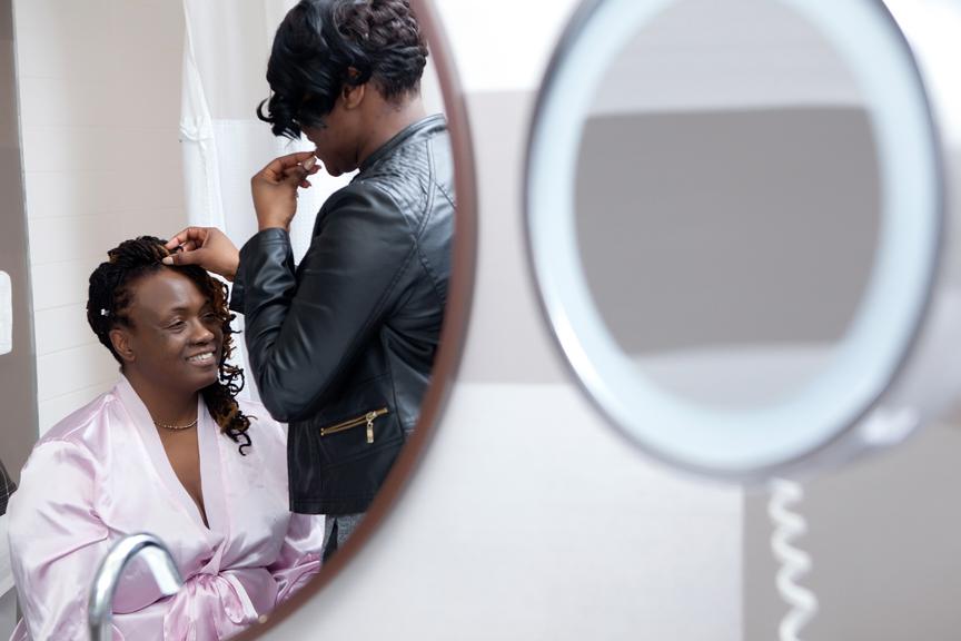 bride prep hair