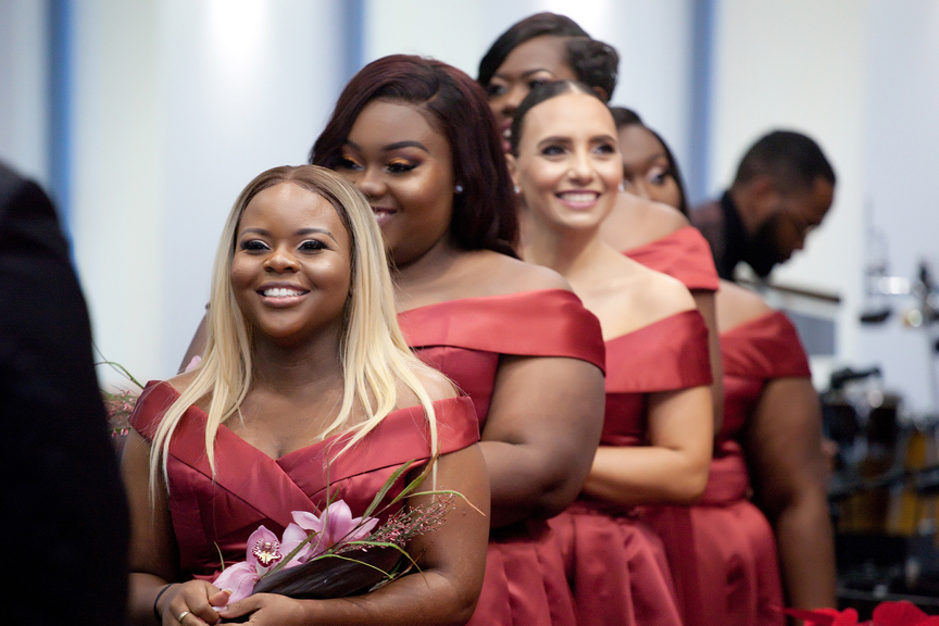 bridesmaids wedding ceremony at Praise Cathedral Worship Centre