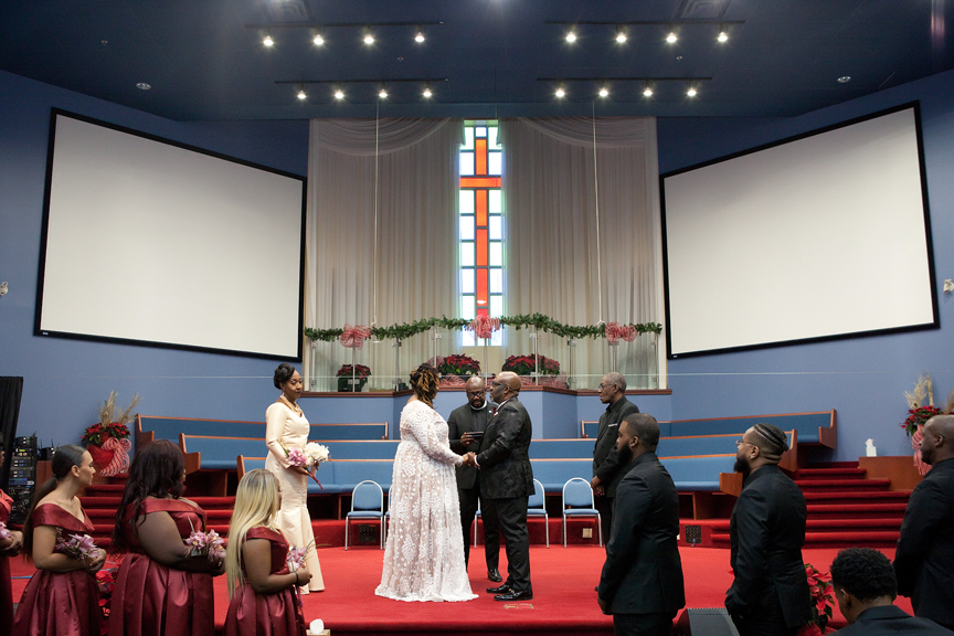 bride and groom wedding ceremony at Praise Cathedral Worship Centre