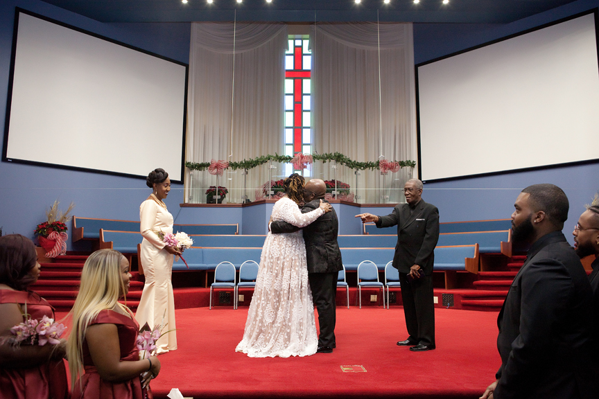 first kiss wedding ceremony at Praise Cathedral Worship Centre