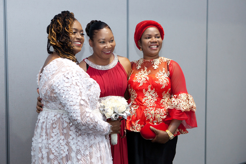 bride with friends at Praise Cathedral Worship Centre