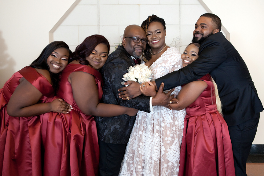 bridal party at Claireport Place