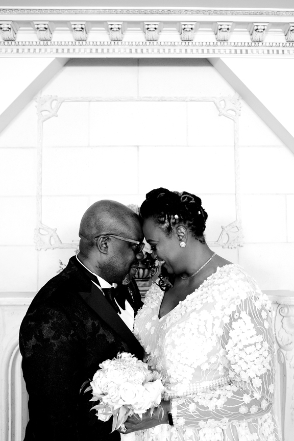 wedding couple black and white at Claireport Place