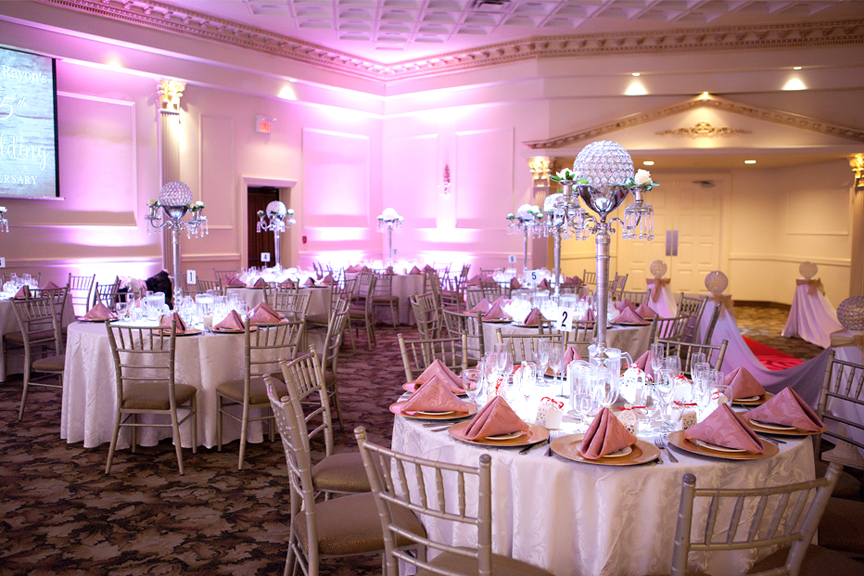 hall decor wedding reception at Claireport Place