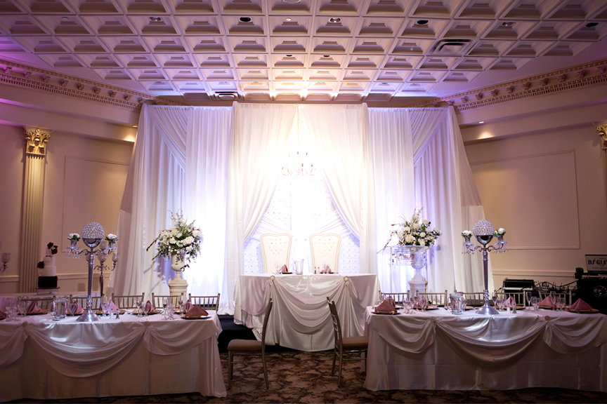 head table decor wedding reception at Claireport Place