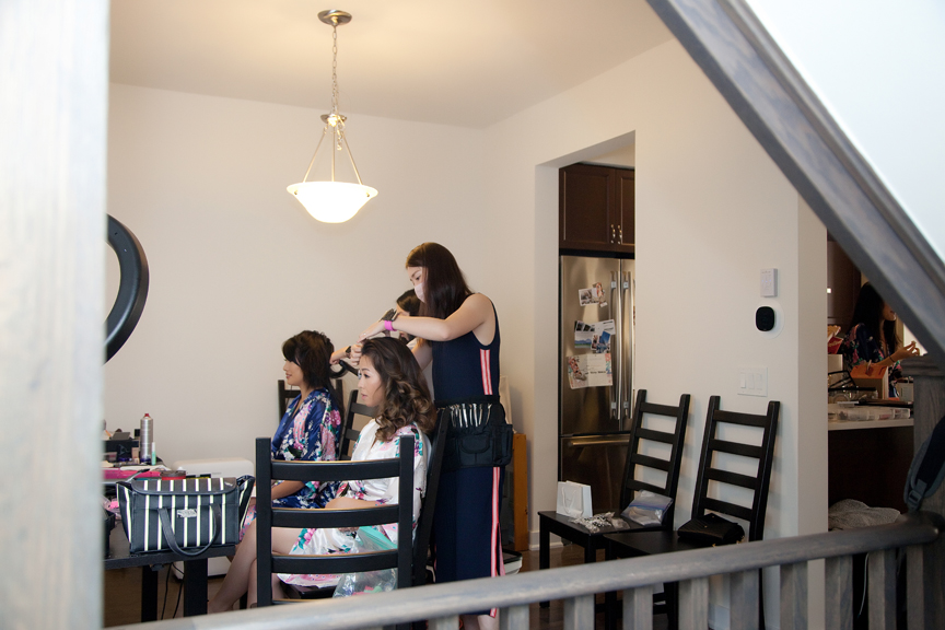 bride prep hair and makeup