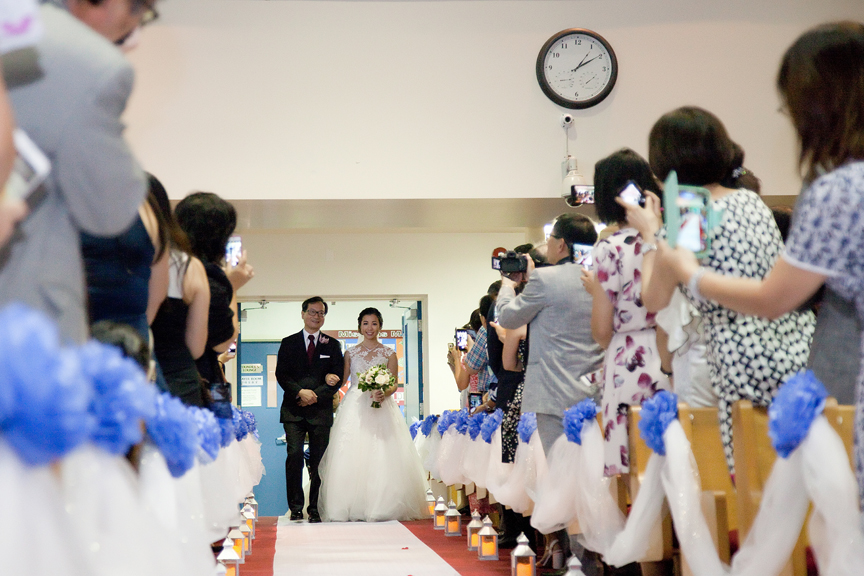 bride down the aisle wedding ceremony at Toronto Christian Community Church