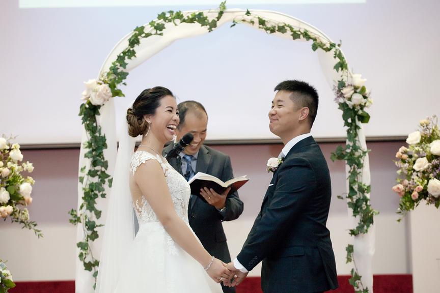 happy couple wedding ceremony at Toronto Christian Community Church