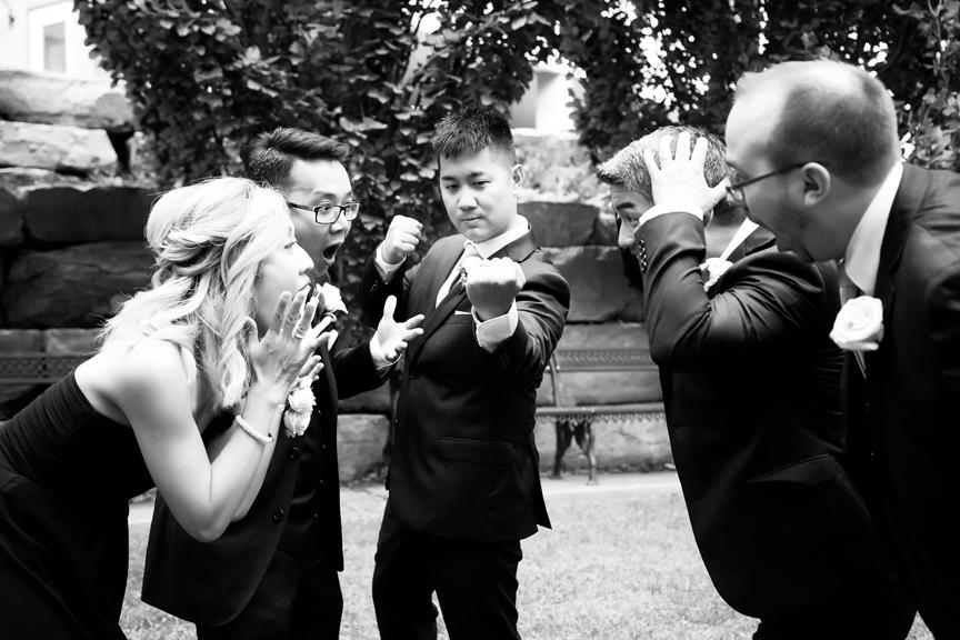 groomsmen portrait Chinese wedding at Ascott Parc