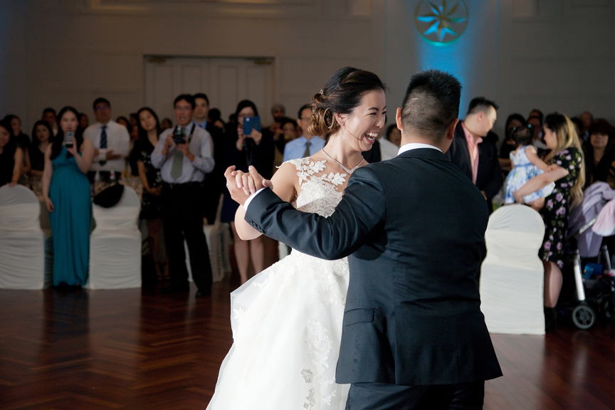 couple's first dance Chinese wedding reception at Ascott Parc