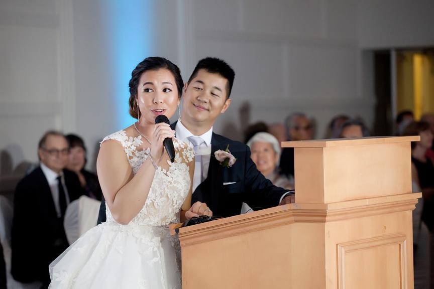 couple speech Chinese wedding reception at Ascott Parc