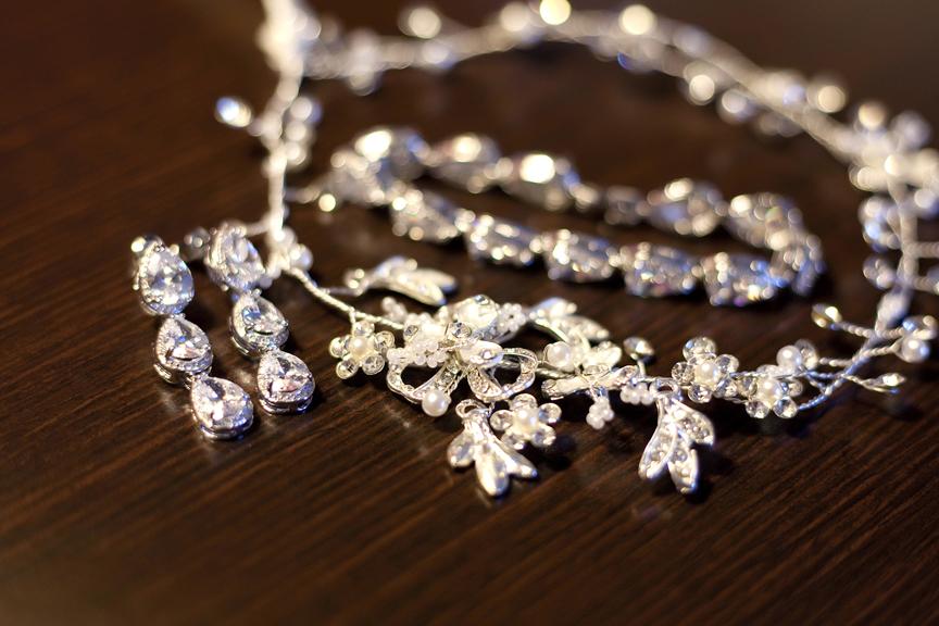 bride prep wedding jewelry