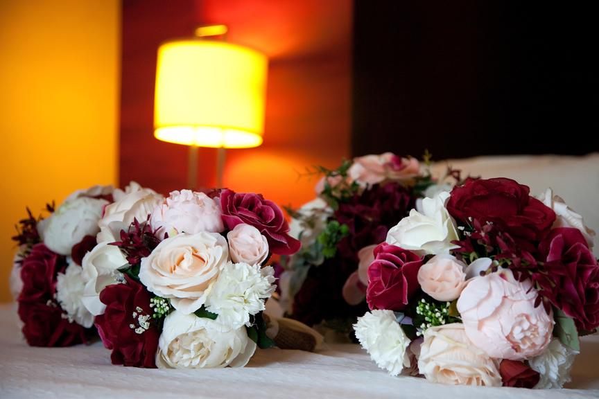 bride prep wedding bouquets