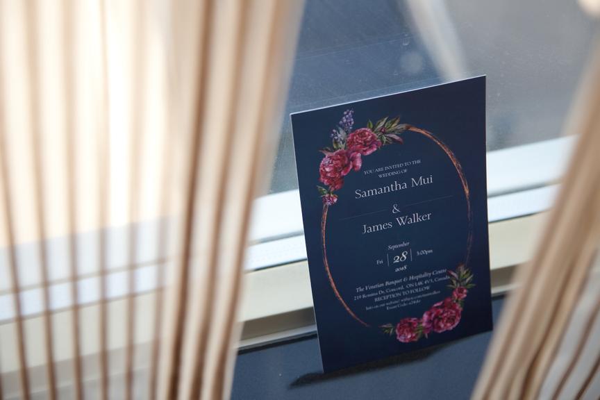 bride prep wedding invitation