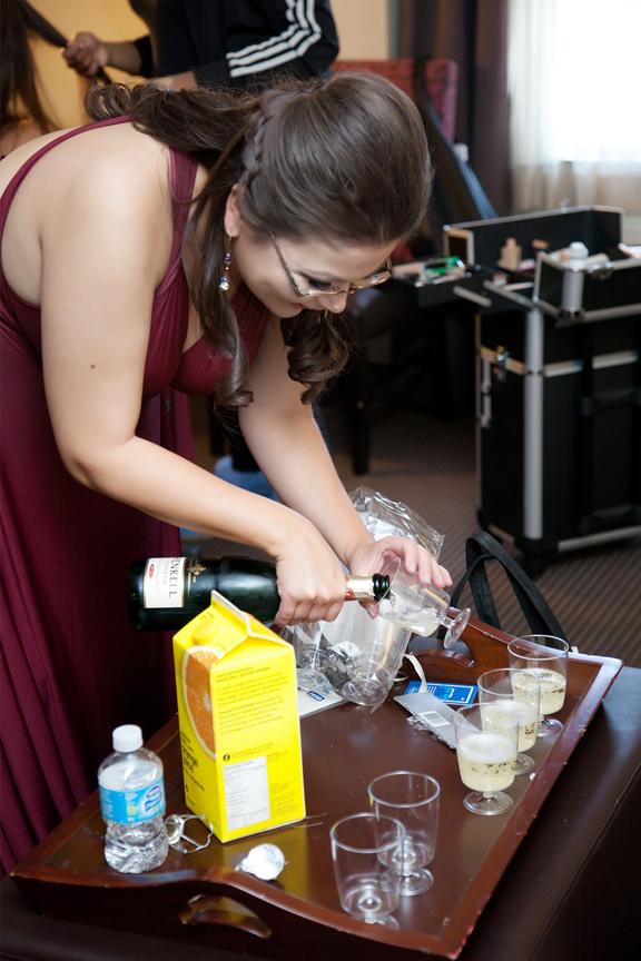 bride prep wedding drinks